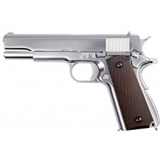 1911 Matte Chrome Full Metal Checker Grip